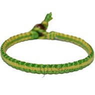 Vivid green and lemon flat cotton bracelet or anklet