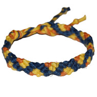 Dark blue, yellow and pumpkin hemp Snake bracelet or anklet