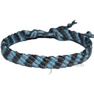 Sky Blue and Grey Bamboo Yarn Diagonal Surfer Bracelet or Anklet