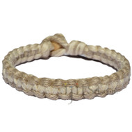 Natural and white flat wide hemp bracelet or anklet