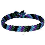 Sky blue, purple, dark green and black bamboo diagonal bracelet