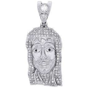 "10K White Gold Diamond Jesus Face Piece Pendant 1.30"" Mens Pave Charm 0.75 ct."