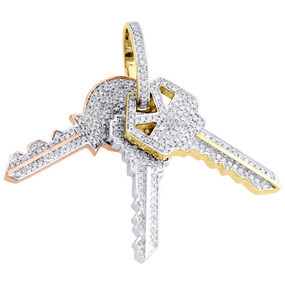 "10K Multi Tone Gold Diamond Three Key Pendant 1.50"" Unisex Pave Charm 0.95 CT."