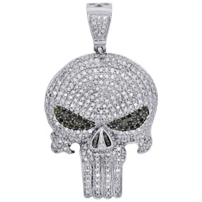 "10K White Gold White & Black Diamond Punisher Skull 1.70"" Pendant Charm 1.65 CT."