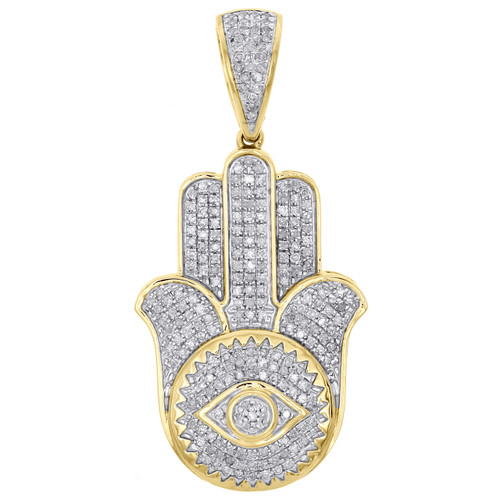 10k yellow gold real diamond evil eye hamsa hand pendant 15 pave image 1 aloadofball Choice Image