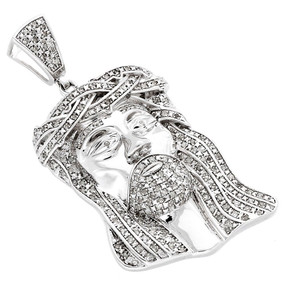.925 Sterling Silver Real Diamond Micro Mini Jesus Face Piece Pendant Charm 1 CT.