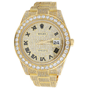 Custom Watch New Rolex Date Just II 2 Flooded Genuine Diamonds 45 MM 15.50 Ct.