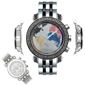 Men's Diamond Watch Joe Rodeo Classic JCL39 1.75 Ct World Map Dial