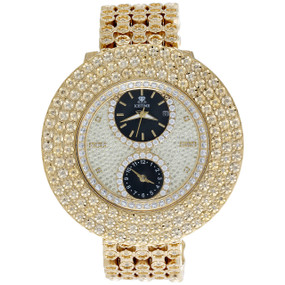 Mens IceTime Joe Rodeo JoJo 3 Row Custom Bezel 4 Row Diamond Band Watch