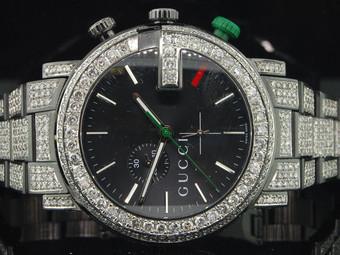 Diamond Gucci Watch Ya101331 Mens 16.50 CT Custom G Chronograph Fully Iced Band