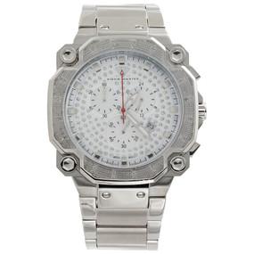 Mens Aqua Master Diamond Watch Chrono Octagon 45mm Stainless Steel W#142 0.32 Ct