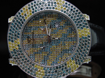 TECHNO LINK JOE RODEO YELLOW & BLUE DIAMOND WATCH 15CT