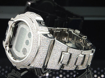 G-SHOCK/G SHOCK WHITE 10C HANDSET SIMULATED DIAMOND CUSTOM BEZEL WATCH JOE RODEO