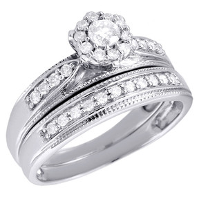 10K White Gold Bridal Set Round Cut Diamond Wedding Engagement Ring 0.40 Ct.