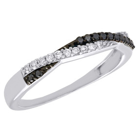 10K White Gold Black Diamond Anniversary Ring Ladies Braided Wedding Band 1/4 Ct