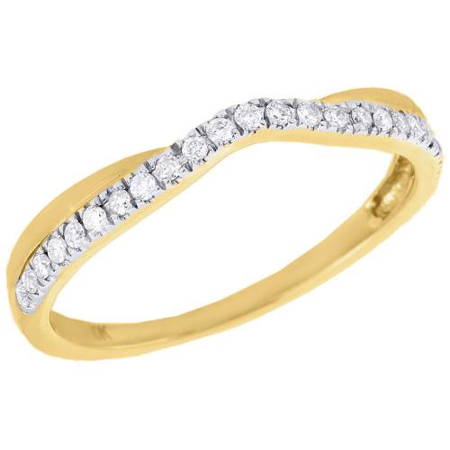 Wedding Bands For Less: 10K Yellow Gold Diamond Twist Contour Wedding Band
