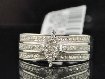 .925 Sterling Silver Pave Round Cut Diamond Marquise Design Engagement Ring