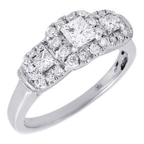 Diamond Solitaire Three Stone Engagement Ring White Gold Princess Cut 0.75 Tcw.