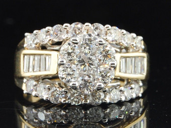 14K Ladies Yellow Gold 2ct Flower Round Cut Diamond Engagement Ring Wedding Band