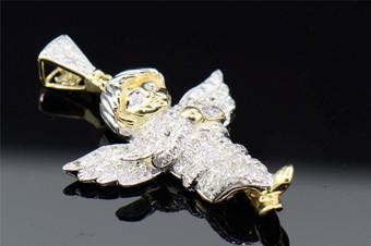 10K Yellow Gold 3D Cherub Mini Baby Angel Diamond Pendant Charm Jesus 0.70 Ct.