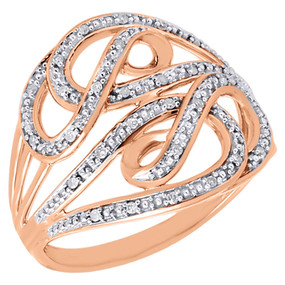 10K Rose Gold White Diamond Intertwined Swirled Cocktail Fashion Ring 0.10 Ct.