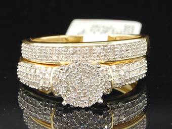 10K Ladies Yellow Gold Pave Flower Head Diamond Engagement Ring Bridal Set Band