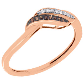 10K Rose Gold Red Diamond Ladies Swirl Fashion Ring Anniversary Band 0.05 Ct.