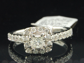 Princess Solitaire Diamond Engagement Ring 14K White Gold Halo Round Cut 1 Ct