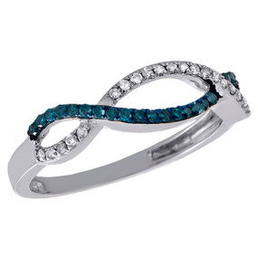 10K White Gold Blue Diamond Infinity Wedding Band 2 Row Anniversary Ring 0.22 CT
