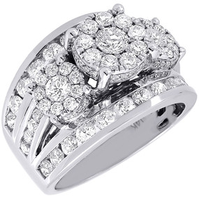 Diamond Wedding Engagement Ring 14K White Gold 3 Stone Cluster Head 2.50 Ctw.