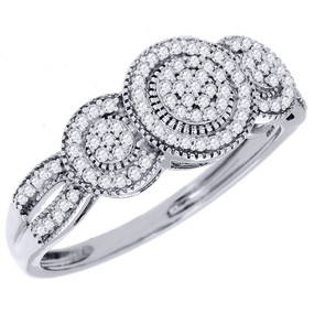 10K White Gold Diamond Engagement Wedding Ring 3 Stone Style Round Cut 1/4 Ct.
