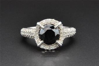 Black Solitaire Diamond Halo Engagement Ring 10K White Gold Round Cut 2.87 Ct