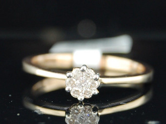 10k Yellow Gold Round Flower Diamond Ladies Engagement Promise Ring 0.10 Ct.