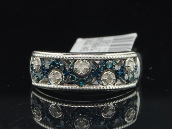 10k White Gold Blue Round Diamond Wedding Fashion Band Anniversary Ring 1/4 Ct.