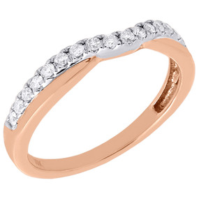 10K Rose Gold Genuine Round Diamond Contour Wedding Band Curved Ring 0.25 Ct.