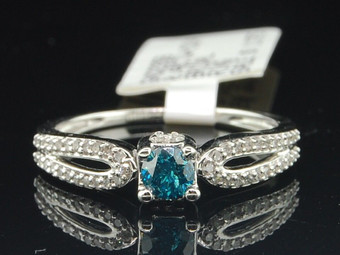 Blue Solitaire Diamond Engagement Ring 10K White Gold Round Cut 0.48 Ct