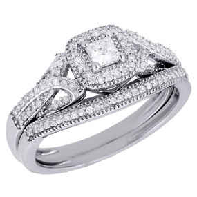 10K White Gold Princess Cut Solitaire Bridal Set Diamond Wedding Ring 0.40 Ct.