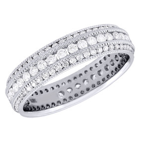 10K White Gold Diamond Eternity Wedding Band Mil-grain Anniversary Ring 1 Ct.