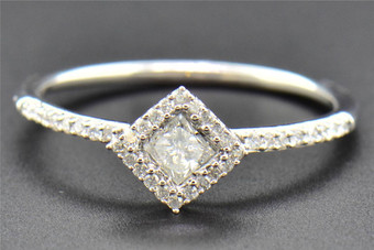 Princess Solitaire Diamond Engagement Ring Round Cut 14K White Gold  0.28 Ct