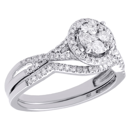10K White Gold Diamond Bridal Set Circle Engagement Ring Wedding