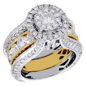 10K White & Yellow Gold Diamond Wedding Bridal Set Ring Antique Halo 5.14 Ctw.