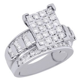 10K White Gold Baguette & Round Diamond Rectangle Ladies Engagement Ring 2 Ct.