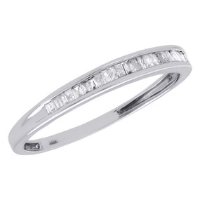 10K White Gold Baguette Diamond Wedding Band 1.85mm Anniversary Ring 0.17 Ct.