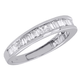 10K White Gold Baguette Diamond Wedding Band 2.65mm Anniversary Ring 0.50 Ct.