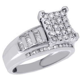 .925 Sterling Silver Round & Baguette Diamond Rectangle Engagement Ring 0.75 Ct.