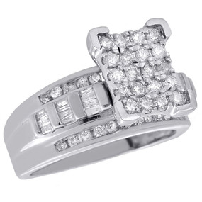 .925 Sterling Silver Round & Baguette Diamond Rectangle Engagement Ring 1 Ct.