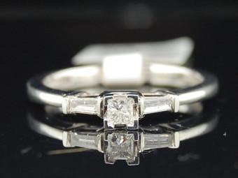 Princess Solitaire Diamond Engagement Ring 14K White Gold Baguette Cut 0.19 Ct