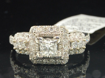 Round Solitaire Diamond Engagement Ring 14K White Gold Halo Princess Cut 1.24 Ct