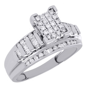 10K White Gold Baguette & Round Cut Diamond Ladies Engagement Ring 0.50 Ct.