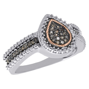 .925 Sterling Silver Brown Diamond Teardrop Halo Ladies Right Hand Ring 1/6 ct.